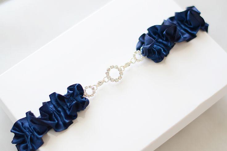 Something blue garter, navy blue wedding garter with crystal, crystal garter, blue garter