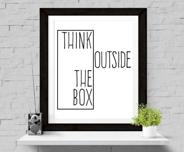 Great gift for house warming party. Wall Decor – Print 'Think outside the box' Print A4 – a unique product by paperblooming via en.DaWanda.com #art #typography