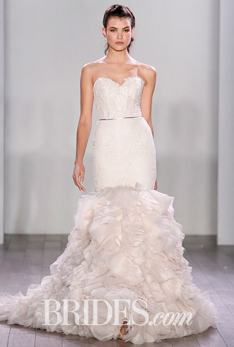 Brides Lazaro , Fall 2016. Style 3612, textured blush fit,and,