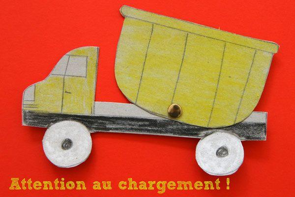 A la manière des marionnettes articulées avec des attaches parisiennes, nous avons réalisé un camion benne qui peut décharger son chargement à l'envi! Pour faire le même, vous pourrez tracer les éléments à main levée ou bien utiliser le pdf que je mets à votre disposition. C'est une activité créative qui plaira peut-être plus aux petits garçons (mais n'hésitez pas non plus à le proposer à des petites filles!) - n'avez vous pas en effet remarqué comme les petits garçons sont ...