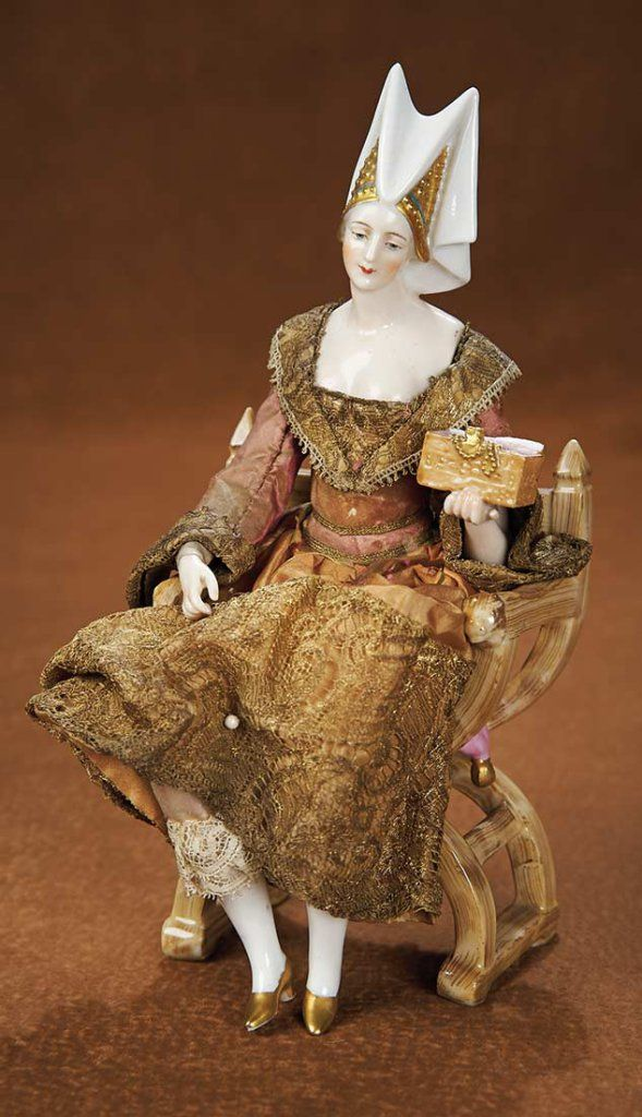 German Porcelain Seated Lady in Porcelain Chair, the Medieval Series by Dressel Kister 2000/3000