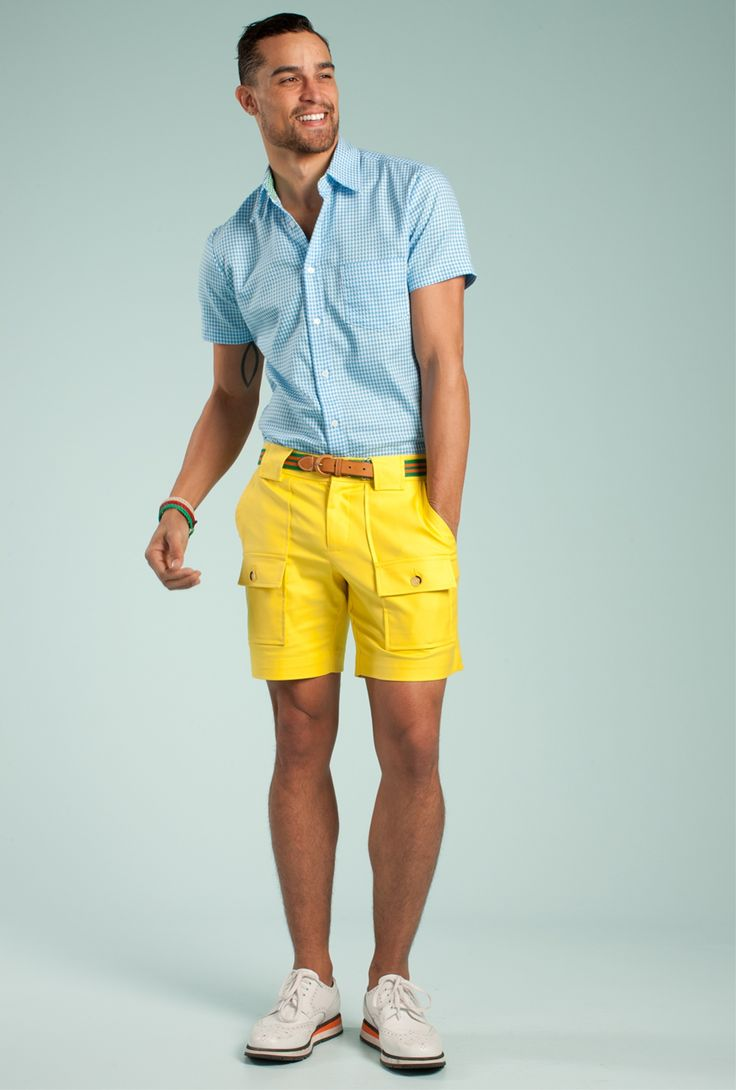 For an everyday outfit that is full of character and personality go for a  light blue gingham short sleeve shirt and yellow shorts.