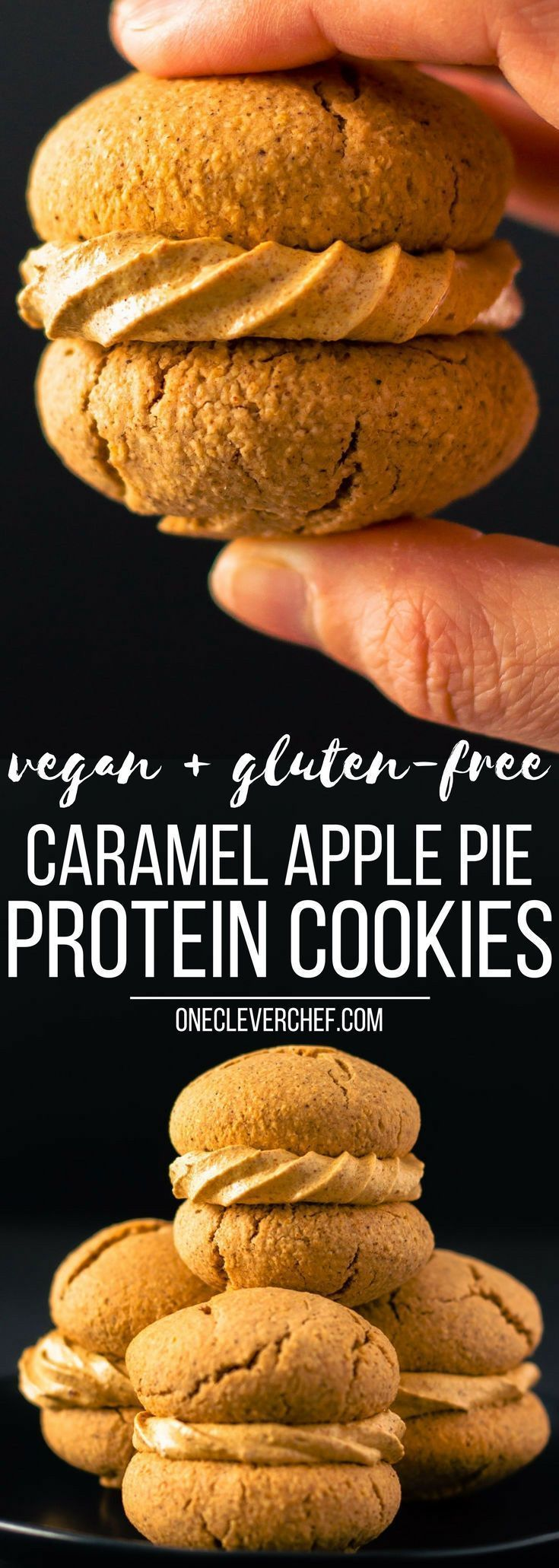 Apple Pie Vegan Protein Cookies with a salted caramel filling! Healthy, simple and naturally sweetened. This recipe is also gluten-free, dairy-free and egg-free. | onecleverchef.com #vegancookies #healthycookies #proteincookies #veganproteinsnack