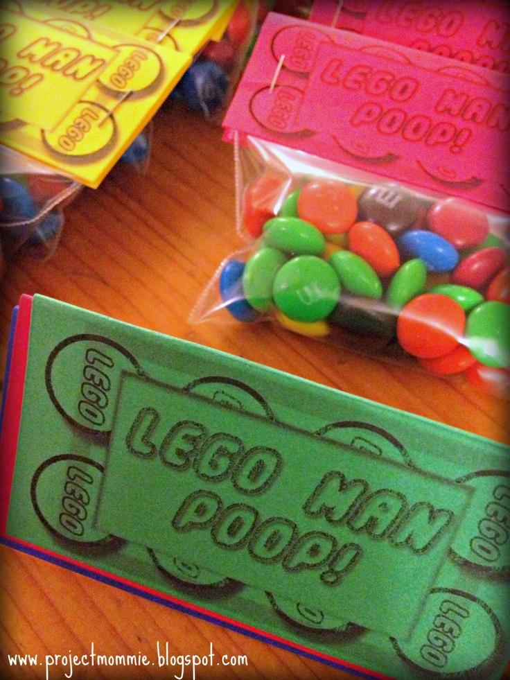 Lego Man Poop Bag Toppers. PDF Document: $5.00, via Etsy.
