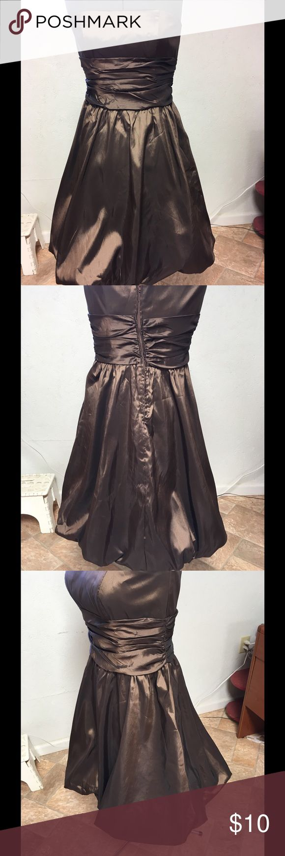 Formal dress from David's Bridal Shop Size 10, Brown, short. Worn once. Has a water mark where punch was spilled on it. Last two pics show the spill. David's Bridal Dresses Strapless