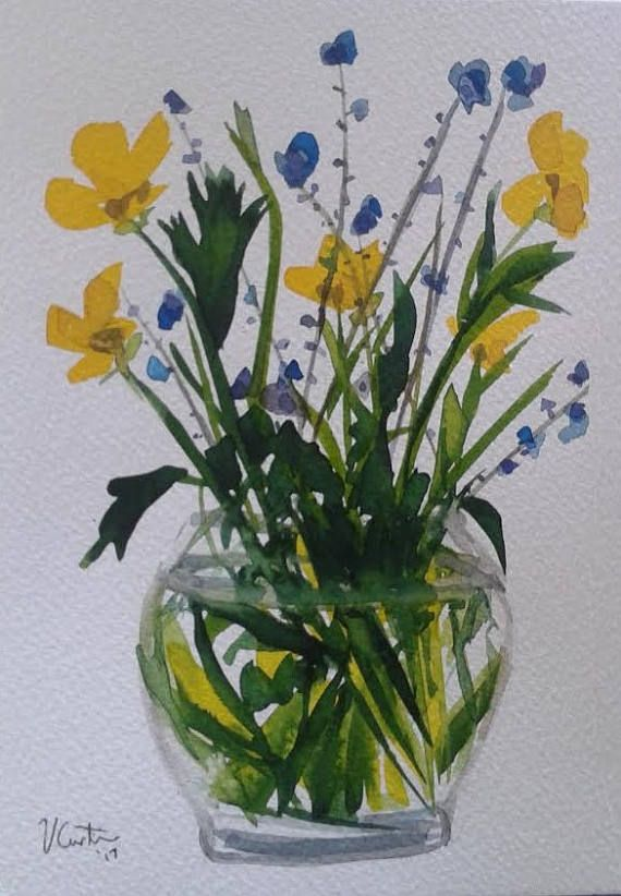 Wildflowers  original watercolour painting. by Vicky Curtin
