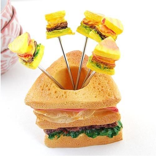 $1.87 Stylish Sandwich Pattern Fruit Forks Set Yellow