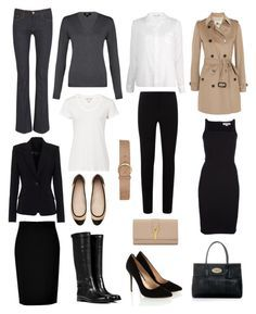 """Capsule Wardrobe"" by lisapril ❤ liked on Polyvore featuring 7 For All Mankind, Theyskens' Theory, Burberry, DKNY, Sundry, Ralph Lauren Black Label, STELLA McCARTNEY, Reiss, Harrods and Sergio Rossi"