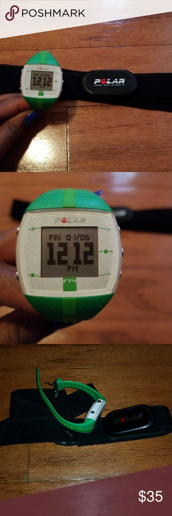 Polar Fitness Watch with Chest Strap Green Polar Fitness Watch with Chest Strap Tracks Calories Burned Heart Rate Zones  Brand New Batteries in Strap and Watch Polar Accessories Watches
