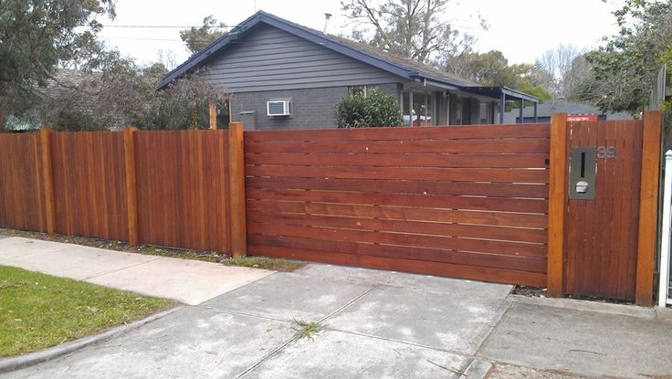 Feature Merbau Fence, sliding gate with FAAC gate automation system. - Peninsula Upright Fencing, Fencing Construction, Mornington, VIC, 3931 - TrueLocal