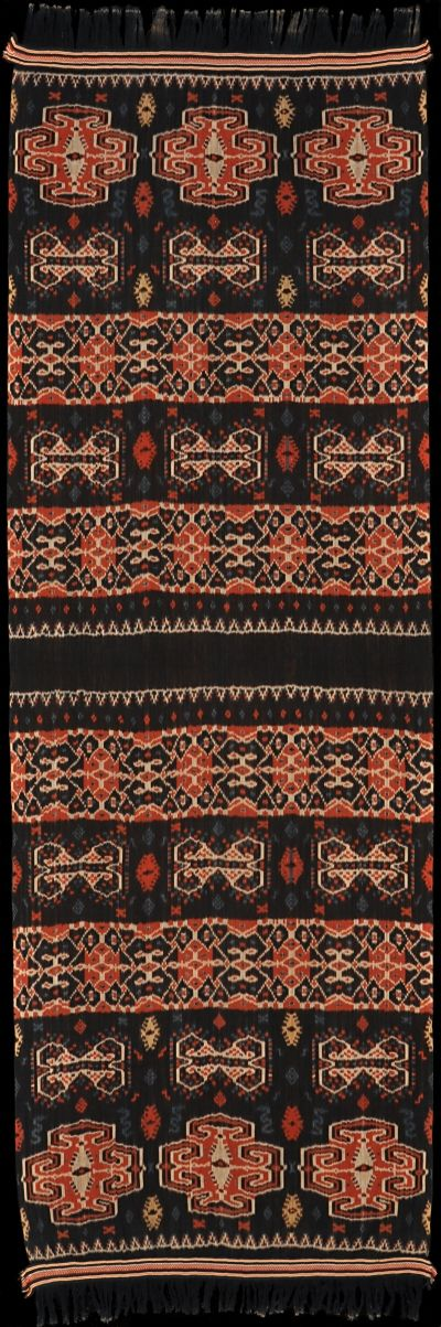 Ikat cotton hinggi (blanket) from East Sumba, Sumba, Indonesia, 1940-1950.