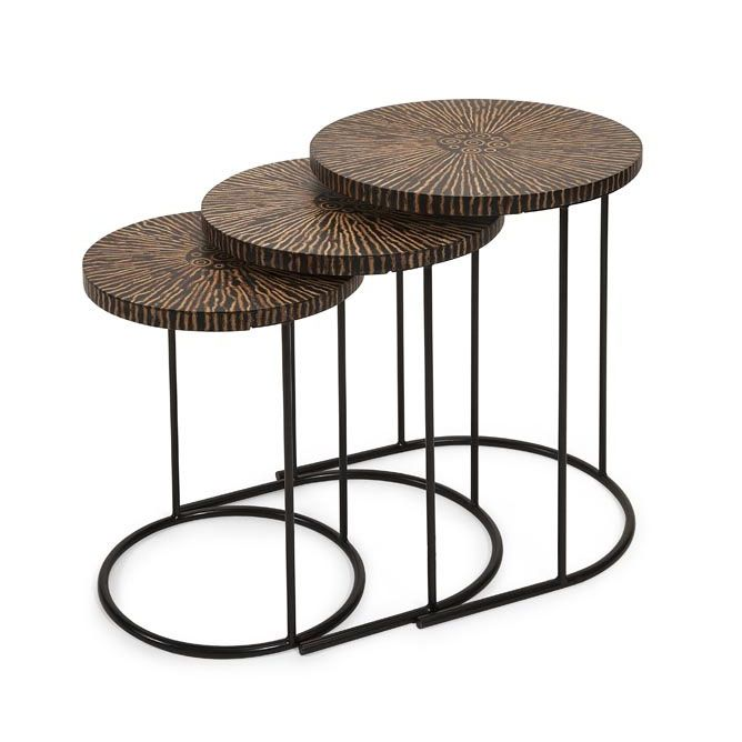 Made from real coconut shells, these nesting tables are a great companion for any home or office. Complete with three tables of descending heights, use one as a side table in your living room, another ... Find the Coconut Shell Nesting Tables - Set of 3, as seen in the Glamping in the Tropics Collection at http://dotandbo.com/collections/glamping-in-the-tropics?utm_source=pinterest&utm_medium=organic&db_sku=IMX0444