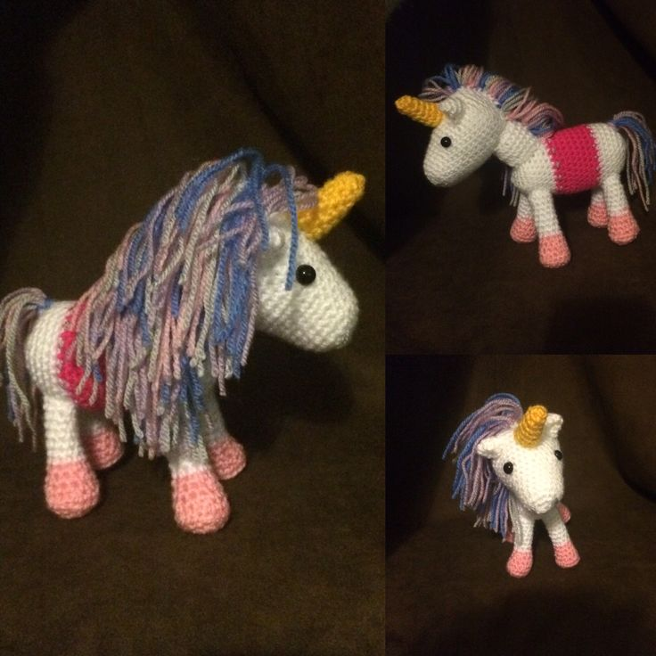 UNICORN!! Pink and purple and blue pastels. Quite fun making this. First toy in a little while.