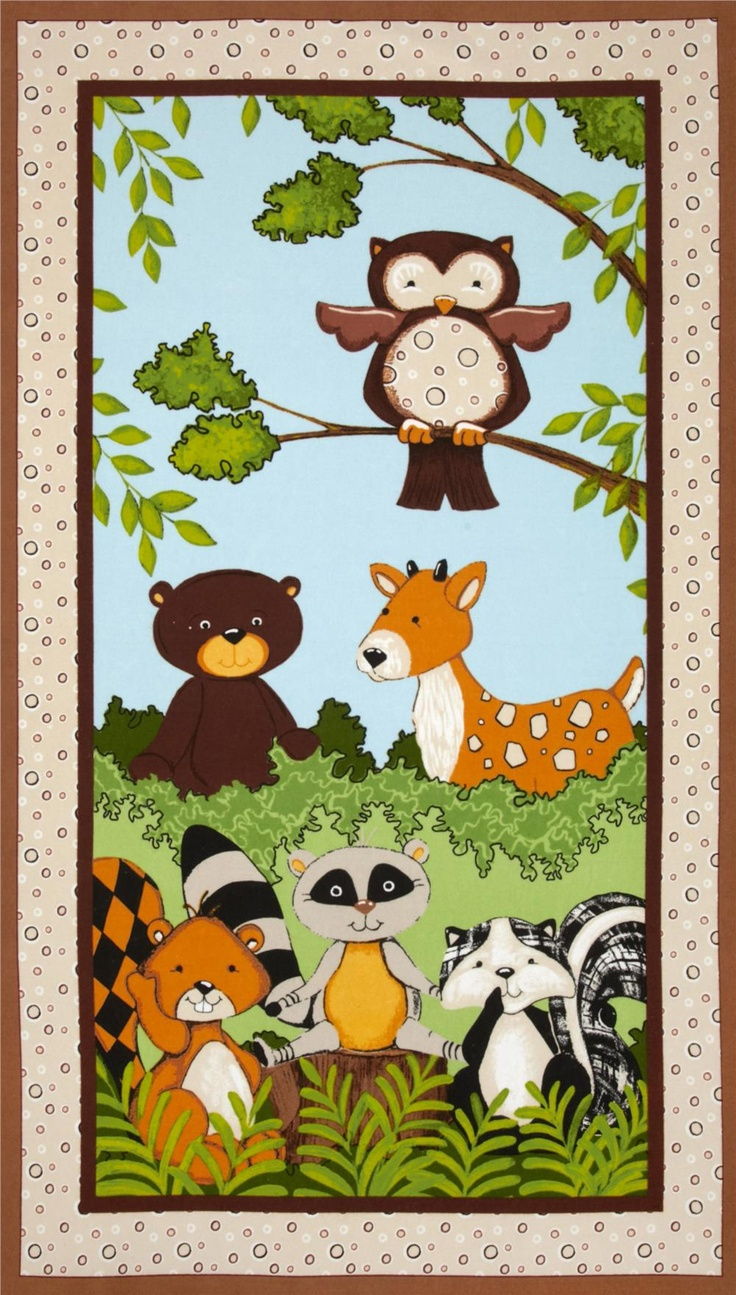 Forest Friends Flannel Panel Brown Fabric Uk