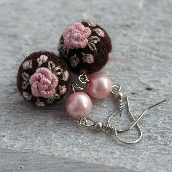 Embroidered felt ball rose earrings in dark by NettesRoseGarden