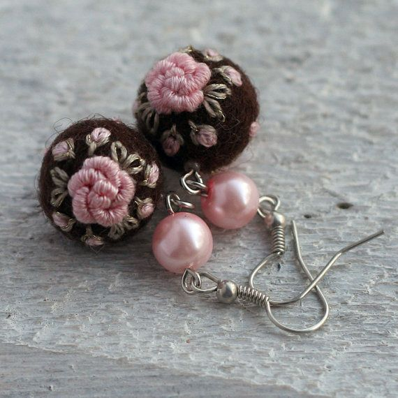 Embroidered felt ball rose earrings in dark brown and light pink, smaller…
