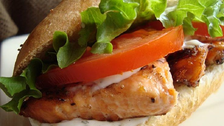 Grilled Salmon Sandwich with Dill Sauce | Yummy Food | Pinterest