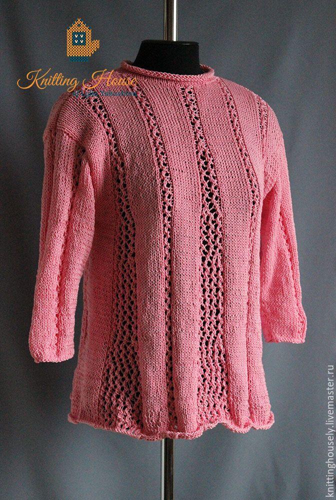 Купить Ажурная туника трапеция связана спицами из хлопковой пряжи розовая - бледно-розовый, туника