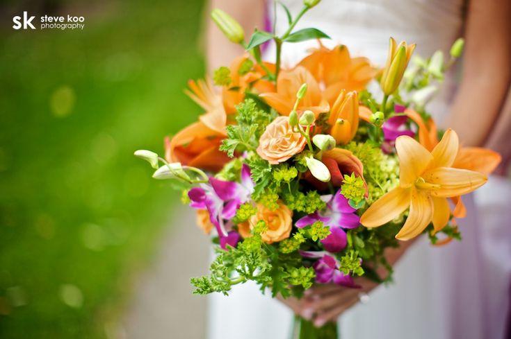 Orange, pink and green wedding bouquet