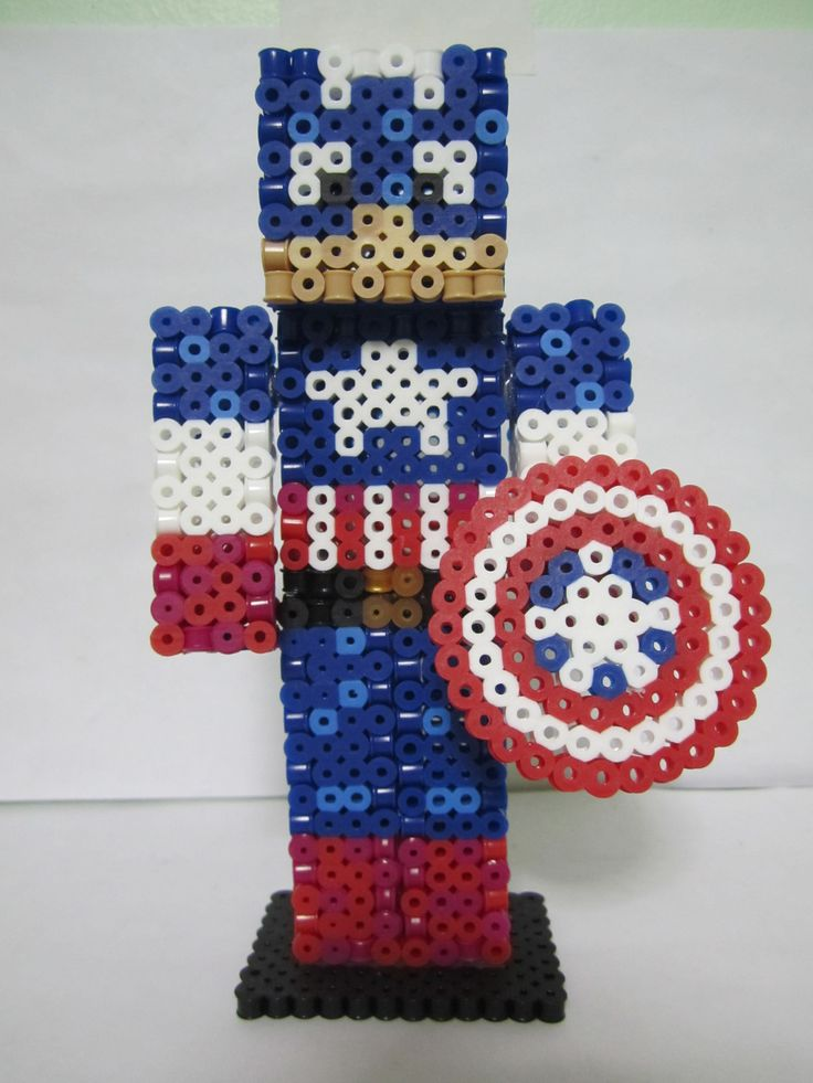 Captain America Minecraft Skin 3D_Perler Beads