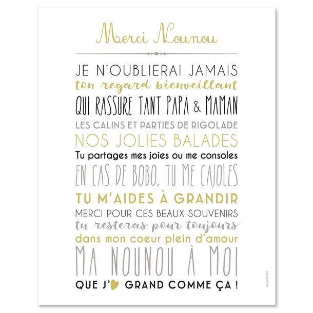 Cadeau Pour Ma Nounou Carte Et Poster Nounou Idée Cadeau