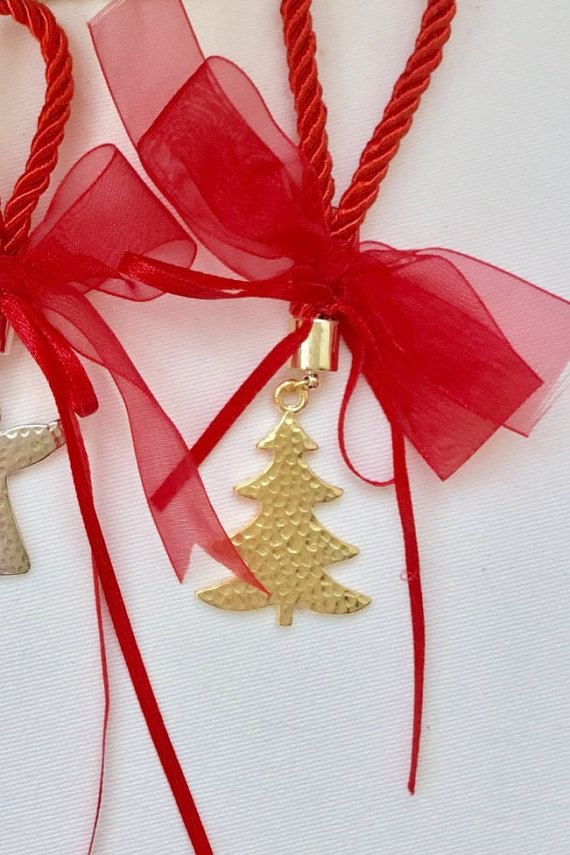 Christmas tree small gift lucky charm gold by hippiefishbeachart