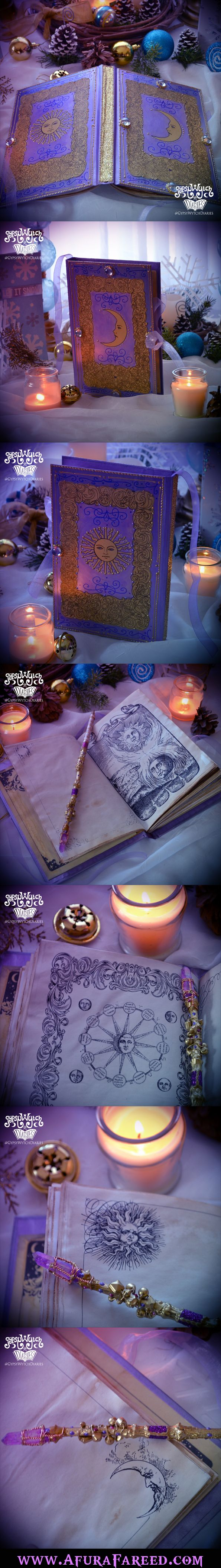 Handcrafted Celestial GypsyWytch Diary Edition No. 4. Sun and moon book of shadows with vintage astrononmy illustrations and tarot card symbolism. Perfect gift for the gypsy boho free spirit witch on your list!