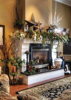 decorating enchanting pictures of mantels decorated for christmas rustic christmas fireplace mantel -t53104.jpg (236×331)