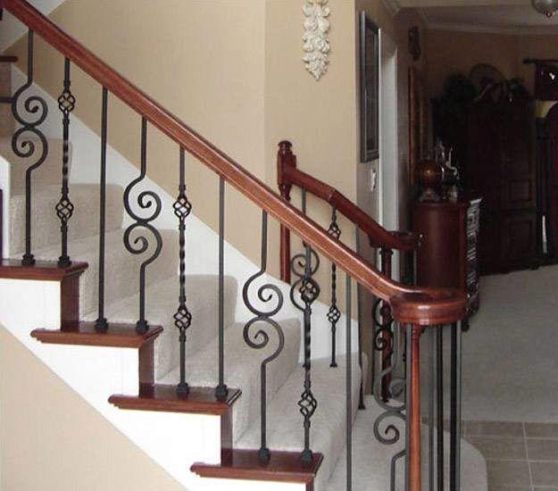 Volute Handrail With Decorative Balusters Stairsupplies | Decorative Handrails For Stairs | Brushed Nickel | Popular | Corner Interior Stair | Exterior Irregular Stair | Iron Staircase