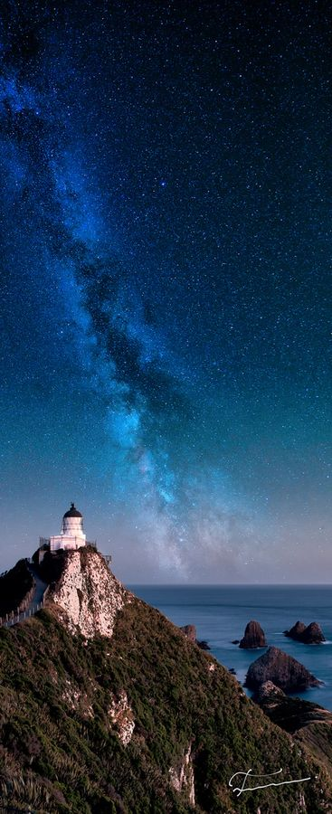 Lighthouse, Milky Way, Nugget Point, New Zealand