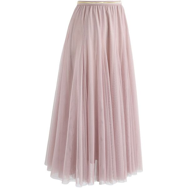 333286102 Chicwish My Secret Weapon Tulle Maxi Skirt in Pink ($52) ❤ liked on Polyvore  featuring skirts, long tulle skirt, chicwish skirts, tulle skirts, ...