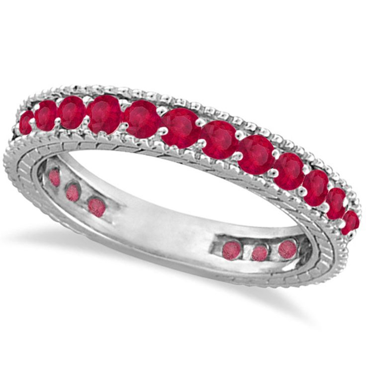 Ruby Eternity Ring Anniversary Ring Band 14k White Gold (1.16ct)