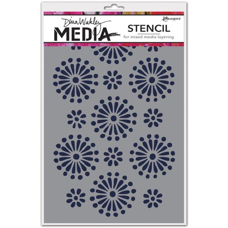 *PRE-ORDER* Ranger - Dina Wakley Media Stencil - 6x9 Daisies,$5.99