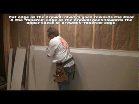 How To Hang Drywall on Walls  All I had to do was watch the first five minutes to decide that this is one project I don't want to diy. It's pretty simple, but man are these guys fast! It would take me hours to do what they do in ten minutes. Worth the money to save my sanity.