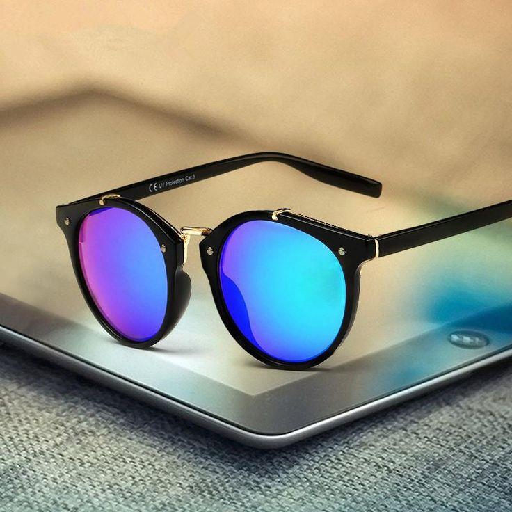 Luxury Round Sunglasses Men Women Brand Designer 2017 Retro Vintage Sun Glasses For Men Male Female Lady Sunglass Mirror Glasses