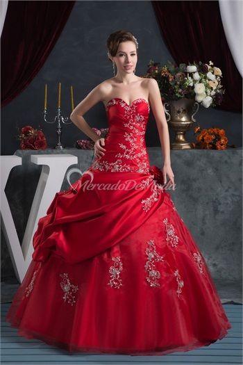 Volantes de saten rojo novia de vacaciones piso de longitud vestido de fiesta 2015  #vestidosdebaile #vestidosde15años  #vestidodefiesta