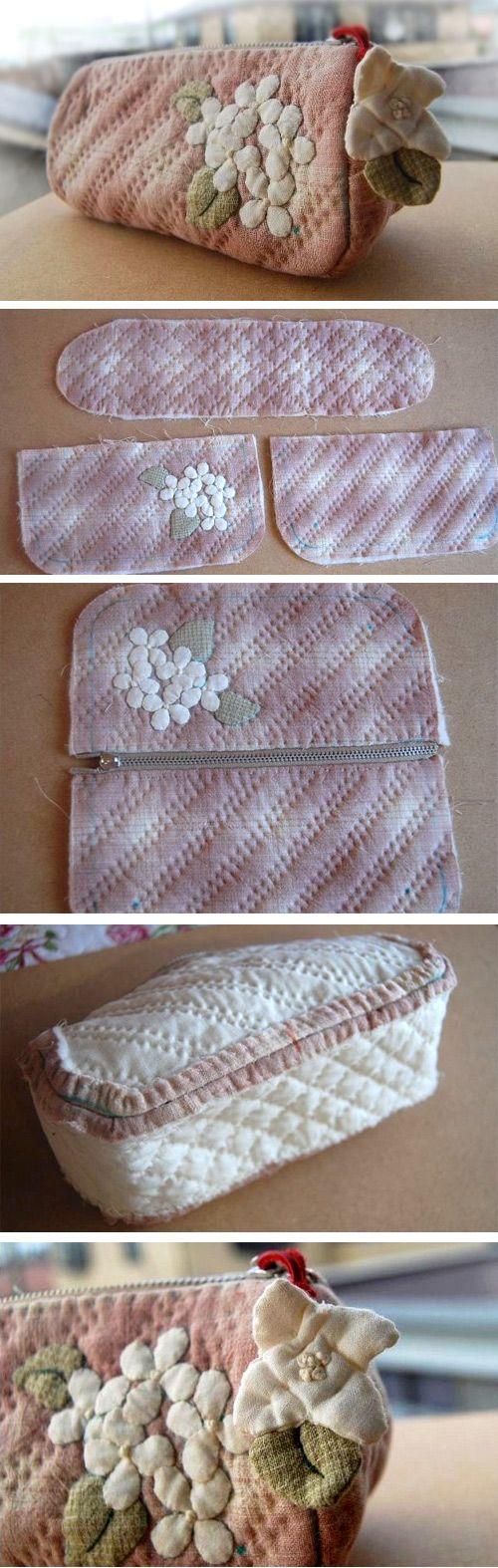 Patchwork and Quilted Zipper Handbag / Cosmetic Bag. DIY Photo Tutorial http://www.handmadiya.com/2016/02/stylish-handbag-clutch-with-flowers.html