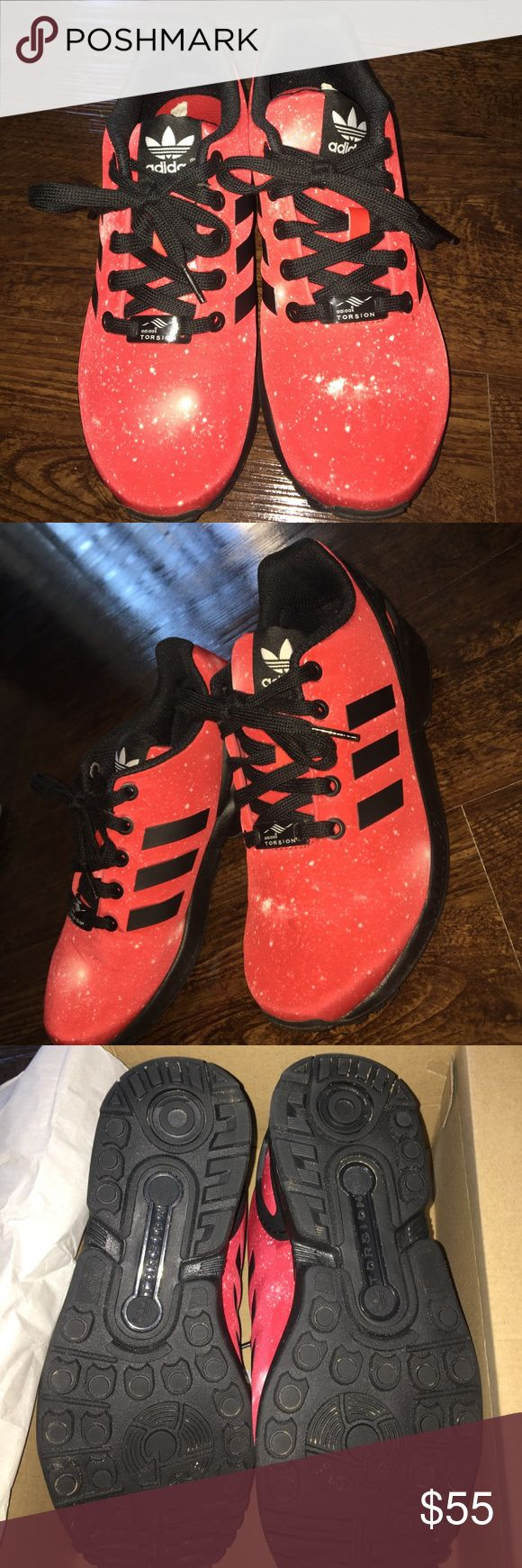 Red galaxy adidas zx flux Worn twice, comes with box adidas Shoes Sneakers