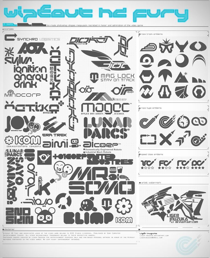 Fictional company logos from Wipeout, created by The Designers Republic