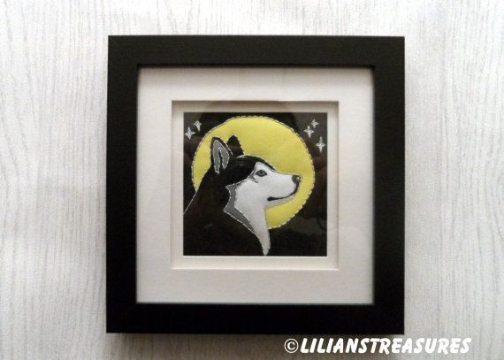 Husky by LiliansTreasures #husky #dog #gift #moon #howl #quilture #picture #quilt