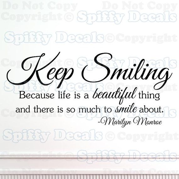 Keep Smiling Marilyn  Monroe wall quote by SpiffyDecals on Etsy, $15.99