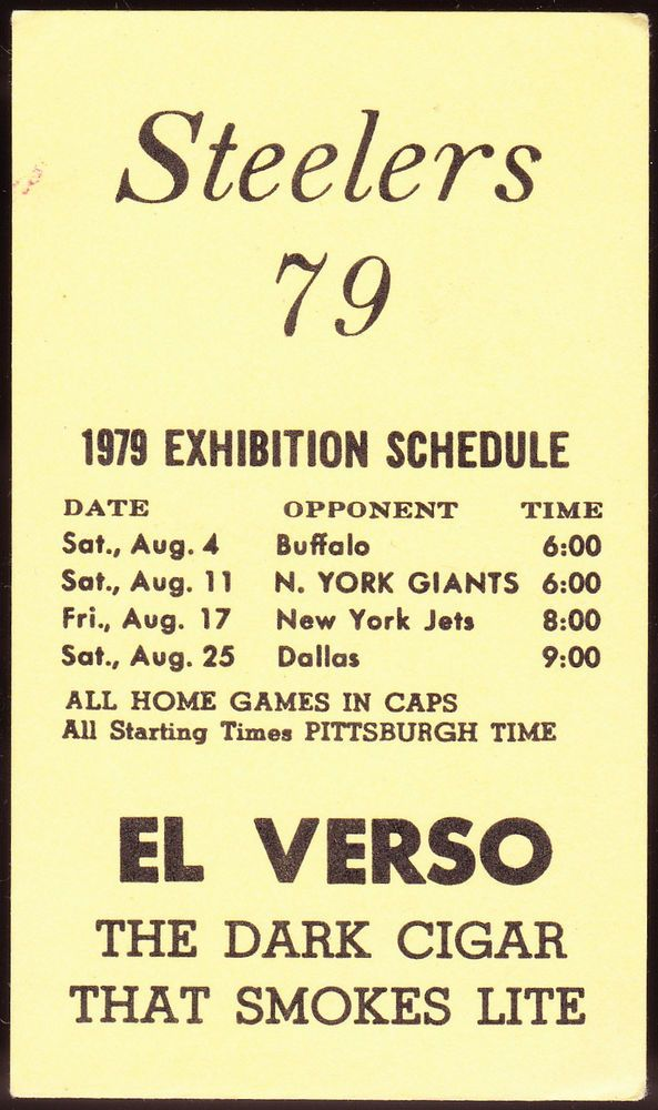 1979 PITTSBURGH STEELERS EL VERSO CIGARS FOOTBALL POCKET SCHEDULE FREE SHIPPING #SCHEDULE