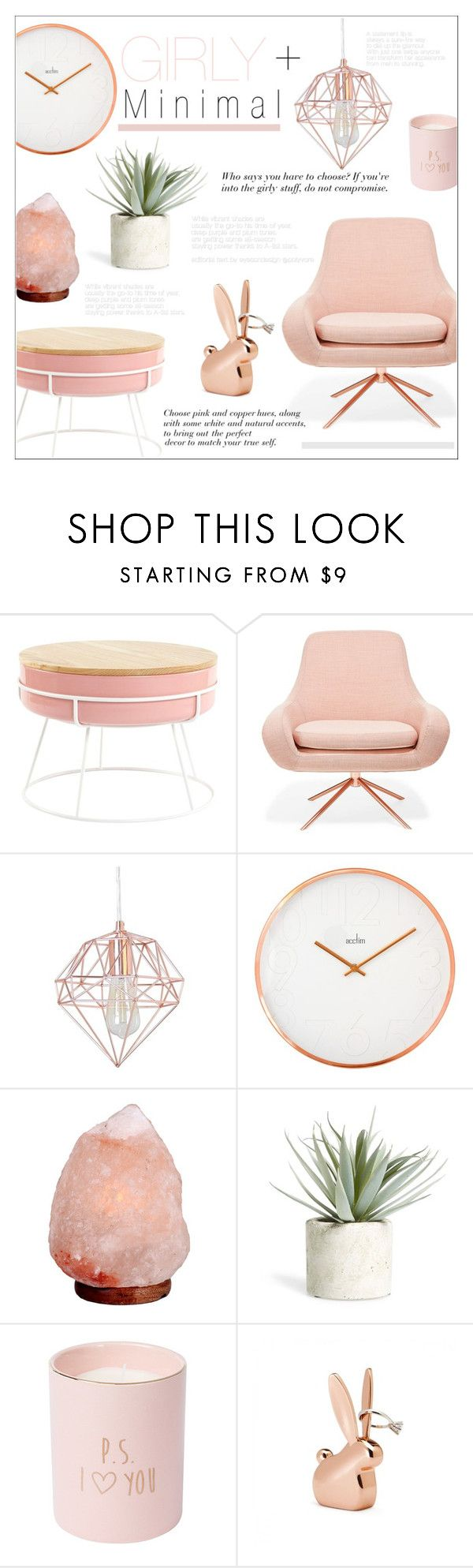 """Girly & Minimal"" by alexandrazeres ❤ liked on Polyvore featuring interior, interiors, interior design, home, home decor, interior decorating, Softline, Crystal Art, Allstate Floral and homedecor"