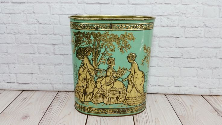 Vintage Metal Mint Green and Brass Trash Can Waste Basket Victorian Ladies Weibro by maliasmark on Etsy