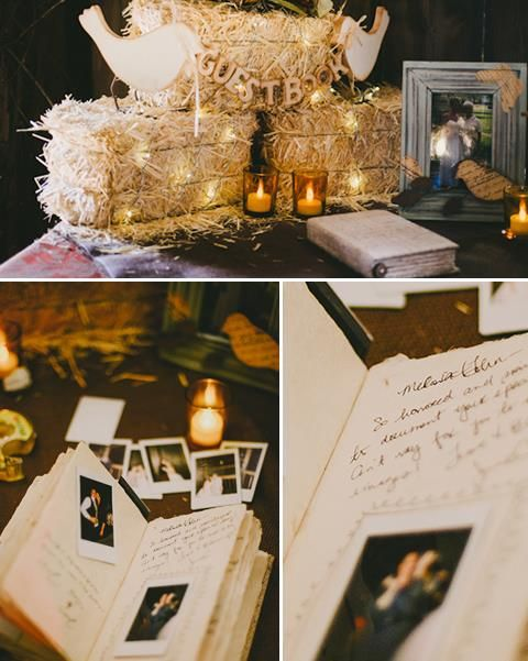 Polaroid Guest Book - have guests attach photos from the night along with their note!