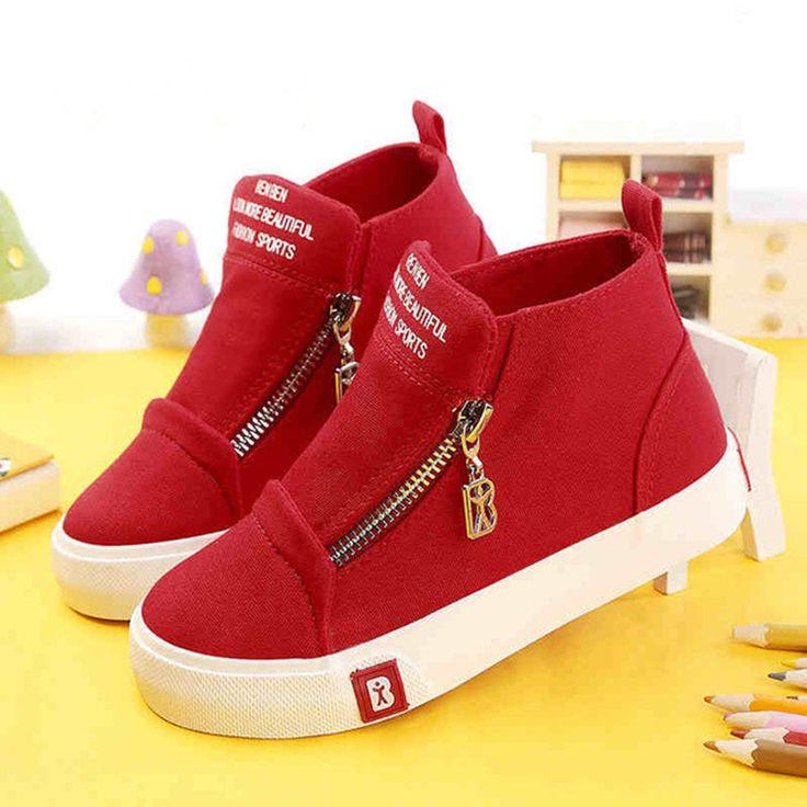 High quality Kids shoes for girls shoes Children canvas shoes boys Fashion White Zip kilen 2017 Spring autumn Children sneakers