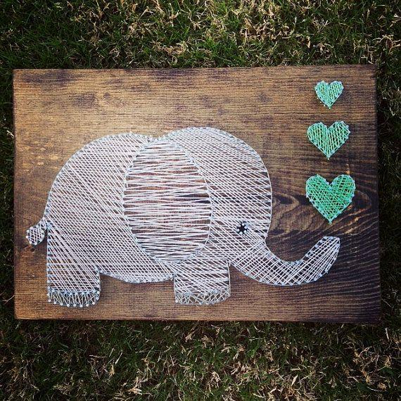 Elefante cadena arte  colgante de pared  por NidifyNursery en Etsy