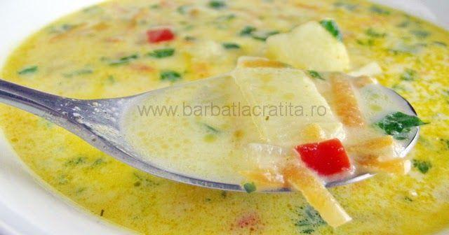 O supa gustoasa din cartofi si legume (optional dreasa cu smantana amestecata cu ou batut).