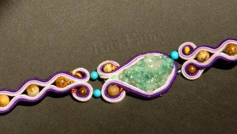 Especial bohemian soutache bracelet, agate geode crystal mineral, artisan jewelry