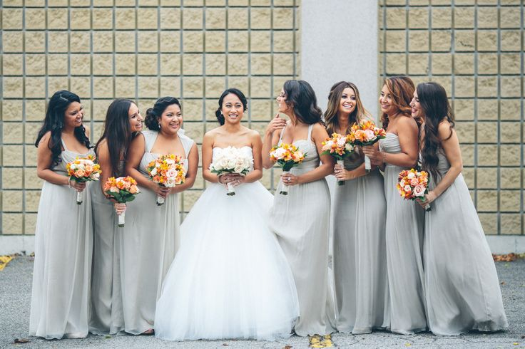 Allison & Her Girls  l  Photography by Captured Pieces  l  Allison's beautiful bridesmaids are wearing Amsale in Champagne available at Pearl Bridal House.